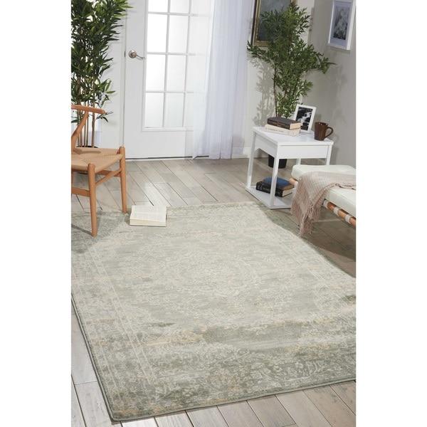 Porch & Den Lorimer Grey Distressed Oriental Area Rug - 7'10 x 10'