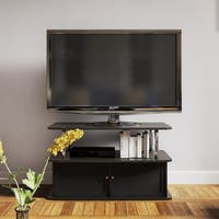 Porch & Den Bywater Montegut Stainless Steel and Wood TV Stand with 2 Cabinets