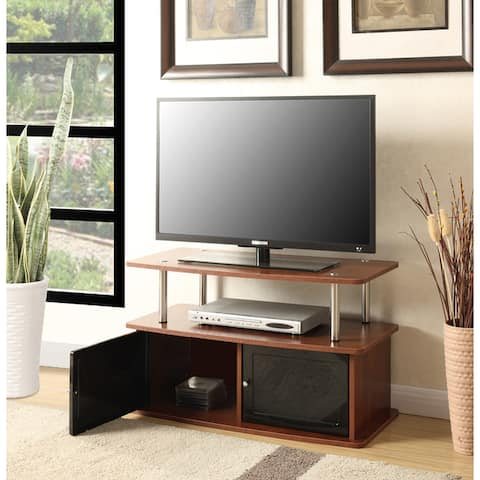 Porch & Den Derbigny Stainless Steel and Wood TV Stand with 2 Cabinets