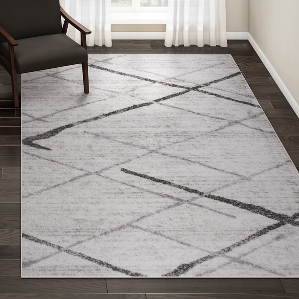Shop Porch Den Iris Trellis Stripes Grey Rug 6 7 X 9 On Sale