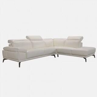 Rallye Modern White Leather L Shaped Sofa