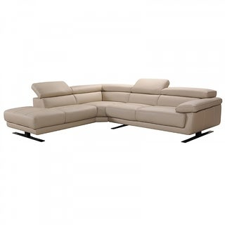 Legacy Modern Taupe Leather L-Shaped Sofa with Adjustable Headrest