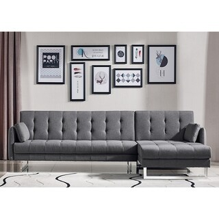 Larchmont Tufted Convertible Grey Fabric Sofa Bed