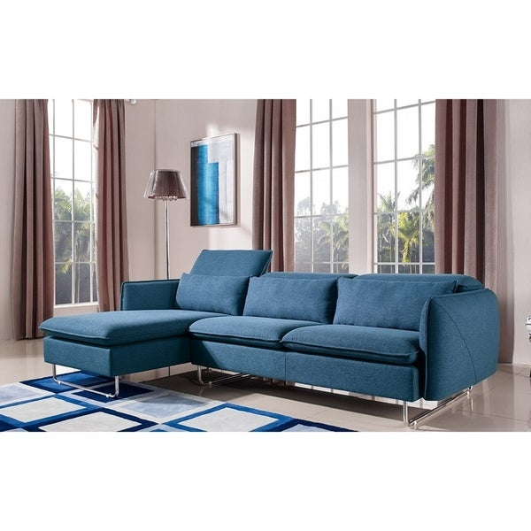 Saphire Elegant Classic Blue Fabric Sofa With Left Facing Chaise