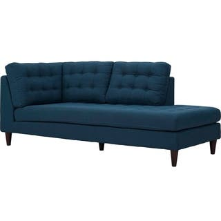 Chaise lounges living room furniture for less for Blue leather chaise lounge