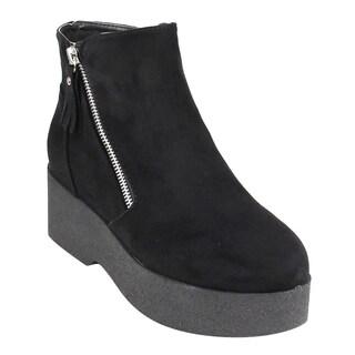 Beston EJ24 Women's Fashion Casual Side Zipper Platform Wedge Ankle Booties