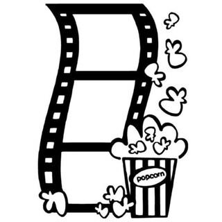 Movie Film And Popcorn Vinyl Decal Home Art Decor Wall Vinyl