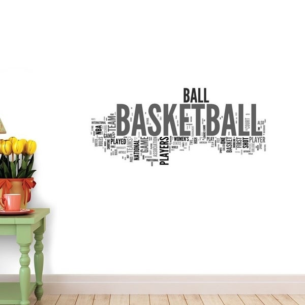 Basketball Concepts on White Background Peel and Stick Wall Decals Wall Vinyl