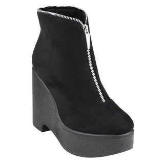 Beston EJ30 Women's Zipper Platform Wedge Ankle Booties One And Half Size Small