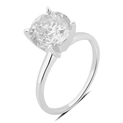 Divina 18K Gold 3 1/4ct TDW round diamond Engagement Ring.(I-J,I2-I3)