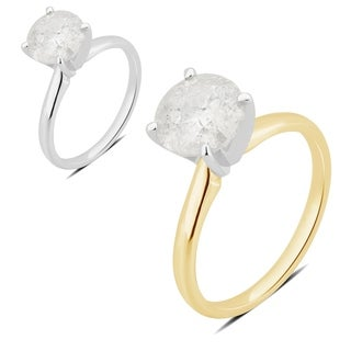 Divina 18K Gold 2 1/2ct TDW round diamond Engagement Ring.(I-J,I2-I3)