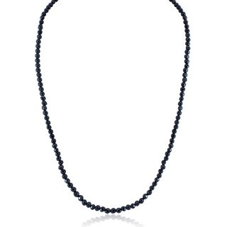 Sterling Silver Long Black Spinel Bead Necklace (3 options available)