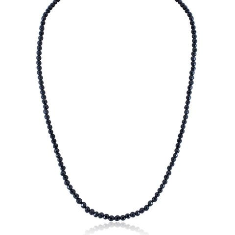 Sterling Silver Long Black Spinel Bead Necklace