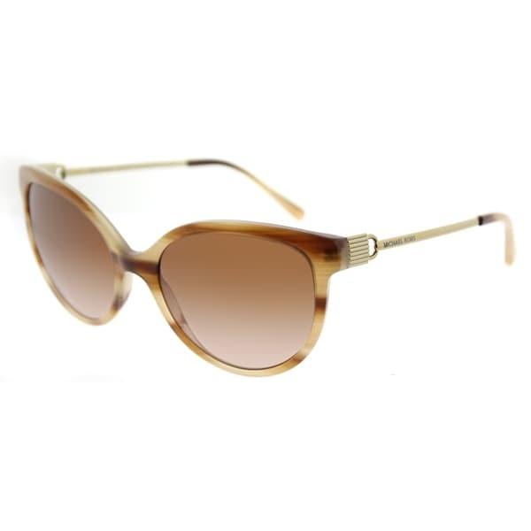 b609440cdb2 Michael Kors Cat Eye MK 2052 329113 Womens Blonde Horn Frame Brown Gradient  Lens Sunglasses