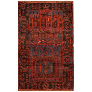 Herat Oriental Afghan Hand-knotted Tribal Balouchi Wool Rug (3' x 4'11)