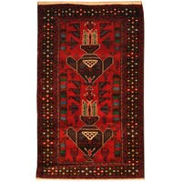 Herat Oriental Afghan Hand-knotted Tribal Balouchi Wool Rug (3' x 5')