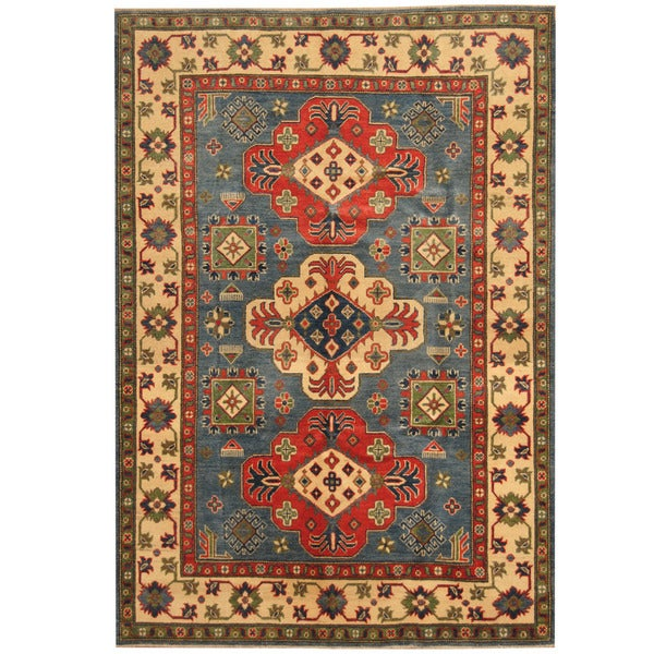 Handmade Herat Oriental Afghan Tribal Kazak Wool Rug (Afghanistan) - 4'10 x 6'7