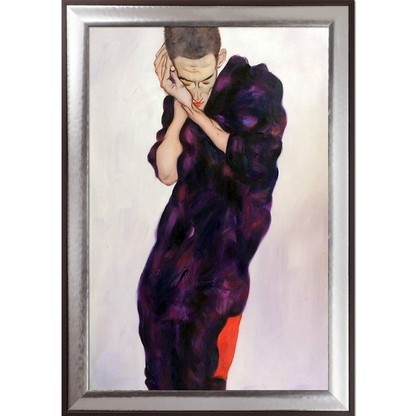 Egon Schiele 'Young Man in Purple Robe with Clasped Hands, 1914' Hand Painted Oil Reproduction