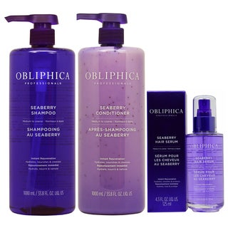 Obliphica Seaberry Shampoo, Conditioner & Hair Serum for Medium to Coarse Hair