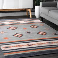 nuLOOM Multicolored Cotton Handmade Flatweave Southwestern Area Rug - multi