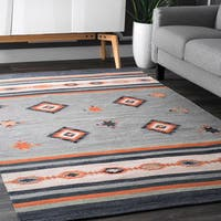 Nuloom Handmade Flatweave Tribal Diamond and Stripes Multicolor Cotton Rug (7'6 x 9'6)