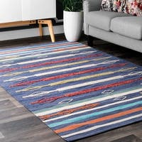 Nuloom Handmade Flatweave Tribal Spears and Stripes Multi-colored Cotton Rug (5' x 8')