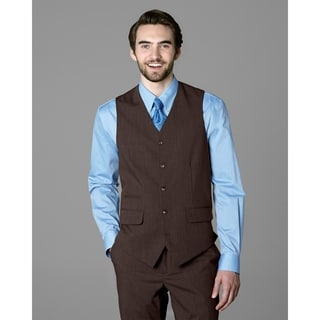 Twin Hill Mens Vest Brown Heather Performance 5-button