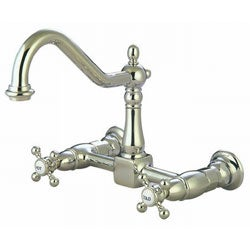 wall mount satin nickel kitchen faucet