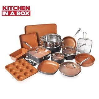 Gotham Steel 20 Piece Complete Kitchen Cookware and Bakeware Set, Ultra Nonstick Ceramic, Lightweight, Durable & Dishwasher Safe