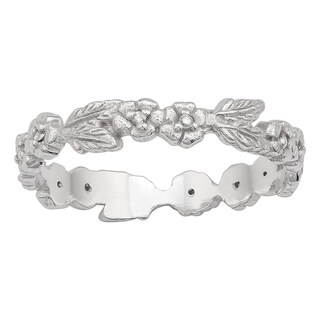 Viducci 10k White Gold Engraved Leaf Diamond Eternity Ring