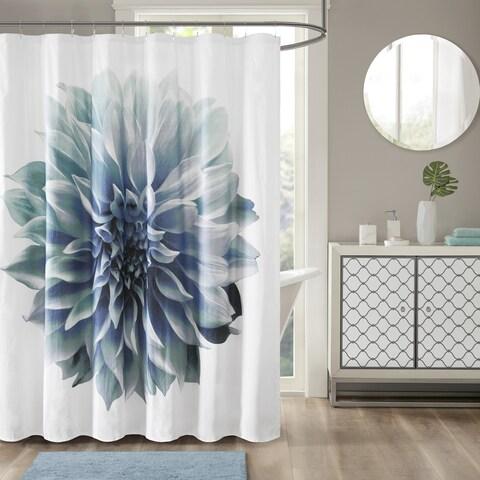 Madison Park Quinn Aqua Cotton Percale Floral Printed Shower Curtain