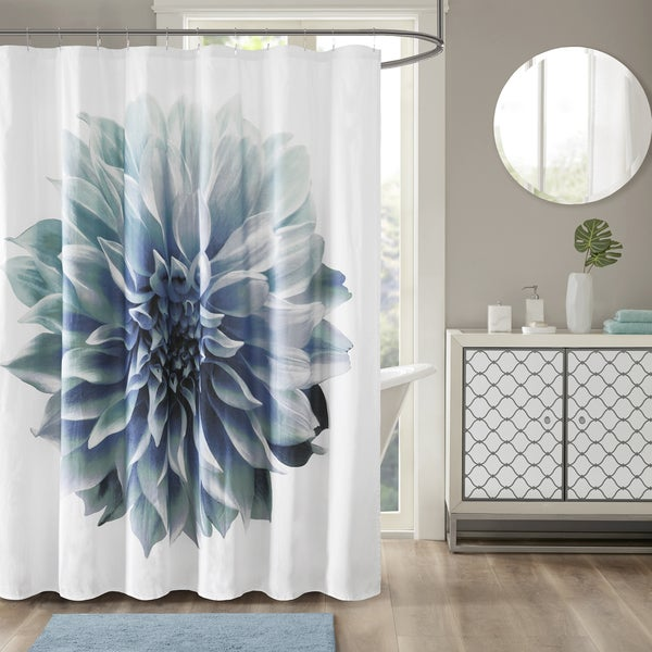 Madison Park Quinn Aqua Cotton Percale Floral Printed Shower Curtain