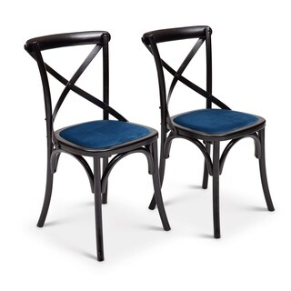 Metro Nimes Black and Blue Upholstered Side Chairs (Set of 2)