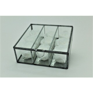 Preserved Roses in Small Looking Glass Box - PAPERWHITE