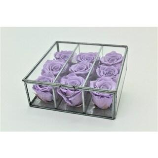 Preserved Silk Lavender Roses in Glass Case