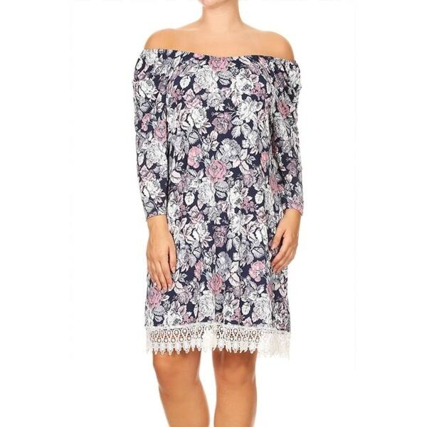 Shop Women\'s Plus Size Cute Pattern Crochet Lace Trim Dress ...