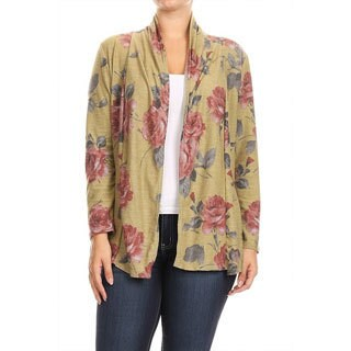 Women's Plus Size Floral Pattern Cardigan