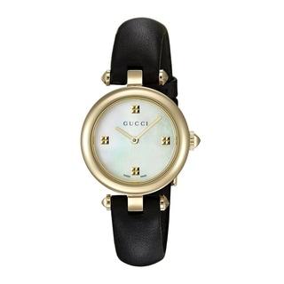 Gucci Women's YA141505 'Diamantissima' Black Leather Watch - Mother of Pearl