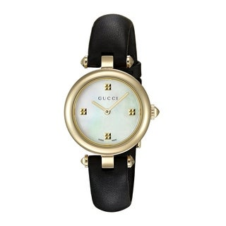 Gucci Women's YA141505 'Diamantissima' Black Leather Watch - Mother of Pearl