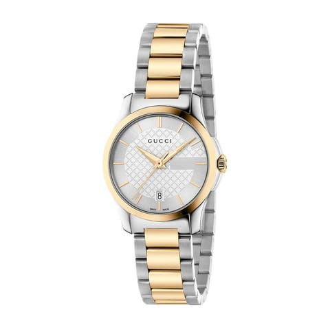 Gucci Women's YA126563 'G-Timeless' Two-Tone Stainless Steel Watch - Silver