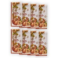 Swaying Leaves Harvest Double Border Set of 8 Print Fabric Napkins