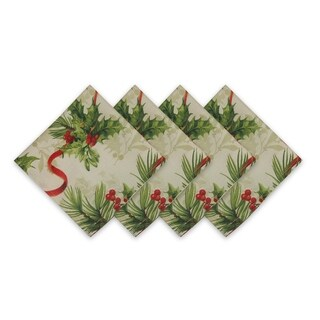 Holly Traditions Double Border Set of 4 Print Fabric Napkins