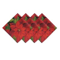 Poinsettia Celebration Set of 4 Print Fabric Napkins