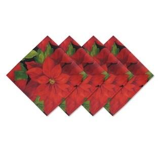 Poinsettia Celebration Set of 4 Print Fabric Napkins