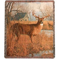 Manual Woodworkers His Side of the River Deer Tapestry Throw