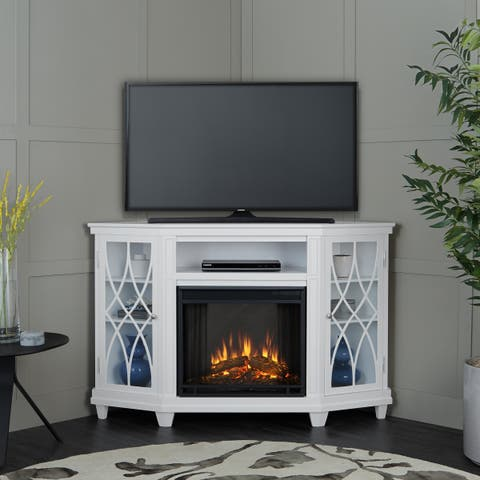 Lynette Electric Fireplace White by Real Flame - 56.26L x 34.69W x 36.26H