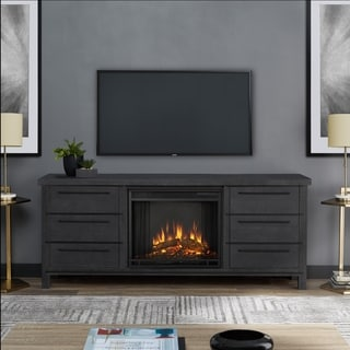 Real Flame Parsons Antique Grey Wood Electric Fireplace
