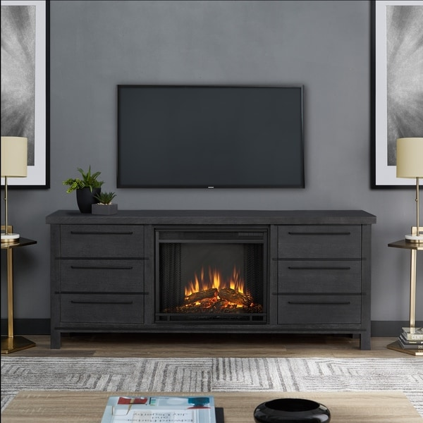 Real Flame Parsons Antique Grey Wood Electric Fireplace ...