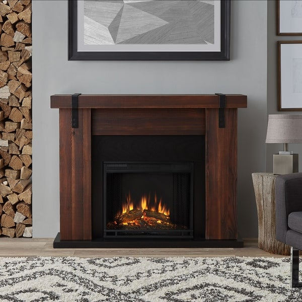 Real Flame Aspen Chestnut Barnwood Solid Wood/Veneer Electric Fireplace