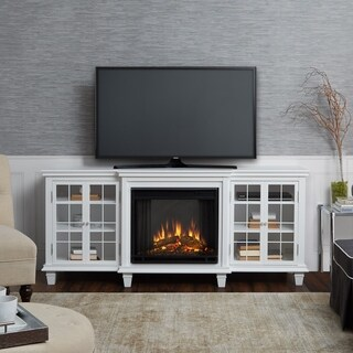 Real Flame Marlowe White Wood/Glass Electric Fireplace
